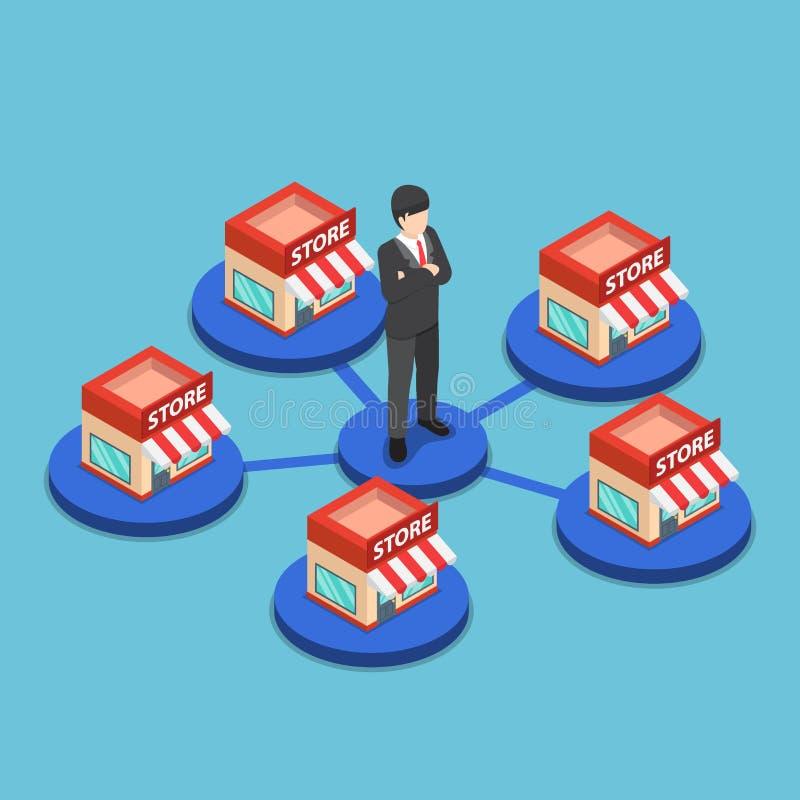 Homem de negócios isométrico que está com rede da loja da compra ilustração stock