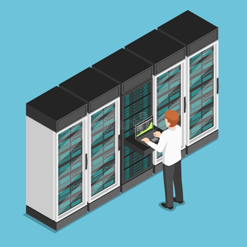 Homem de negócios isométrico que trabalha no portátil no centro do base de dados ou no SE ilustração do vetor