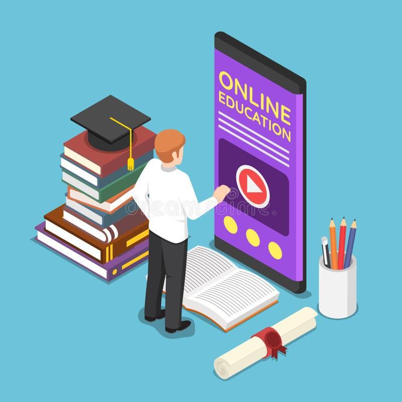 Homem de negócios isométrico que usa o ensino eletrónico ou o appli em linha da educação ilustração royalty free
