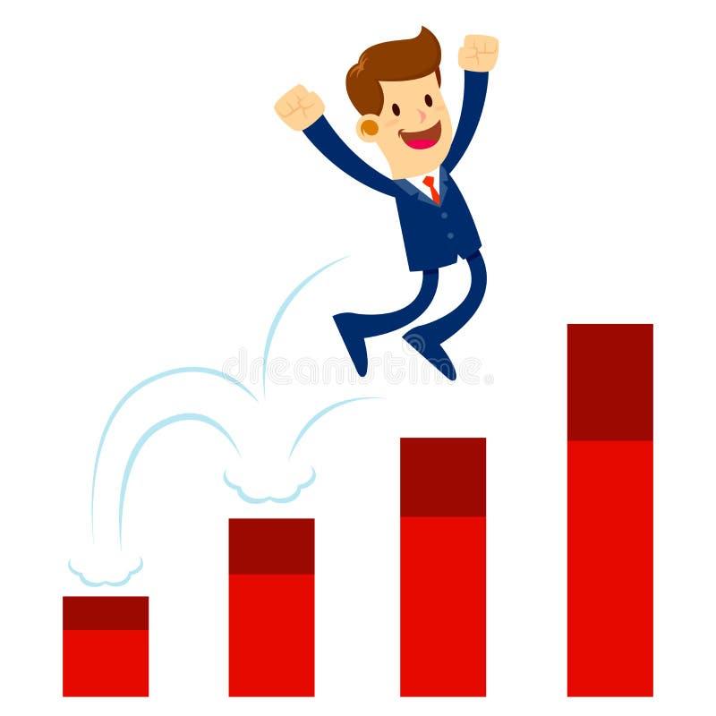Homem de negócios Jump His Way acima da carta de levantamento ilustração stock