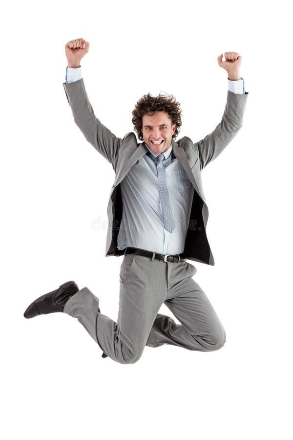 Homem de negócios Jumping foto de stock