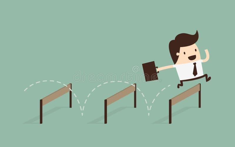 Homem de negócios Jumping Over Hurdle ilustração stock