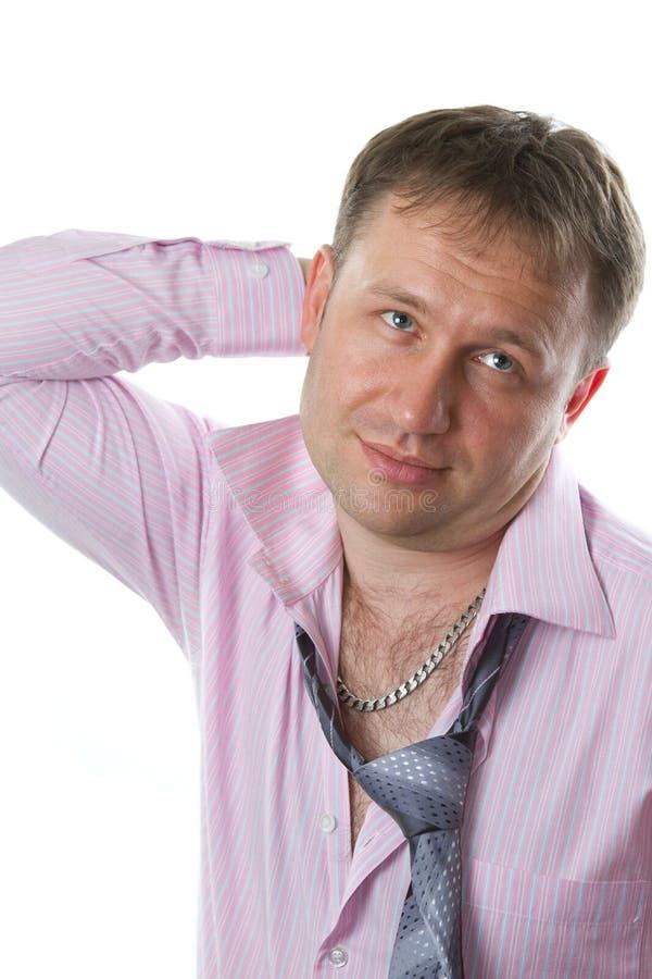 Homem de negócios Laço vestindo de sorriso do homem 'sexy' no fundo branco fotografia de stock