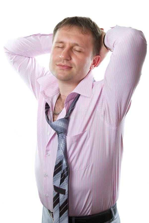 Homem de negócios Laço vestindo de sorriso do homem 'sexy' no fundo branco foto de stock royalty free