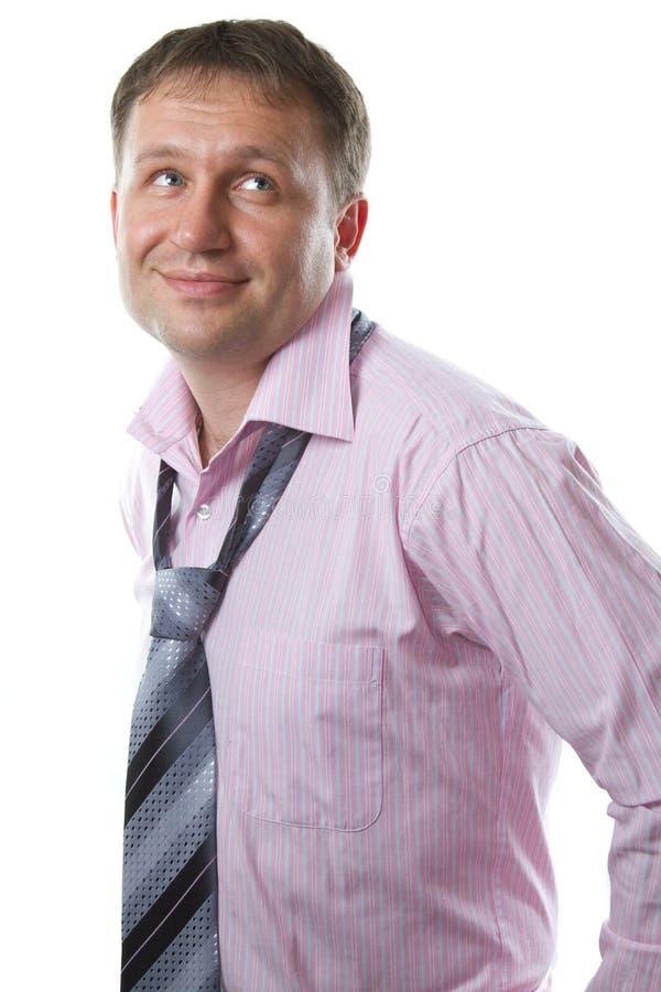 Homem de negócios Laço vestindo de sorriso do homem 'sexy' no fundo branco fotos de stock royalty free