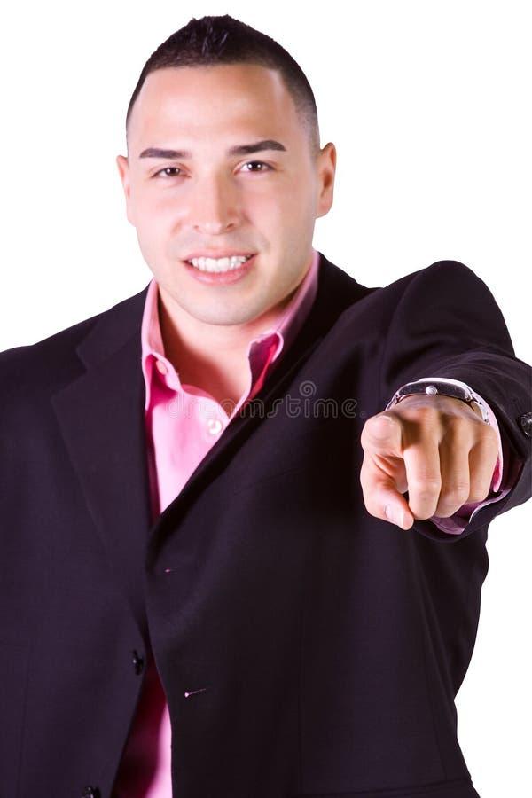 Homem de negócios latino-americano que aponta para a câmera imagem de stock