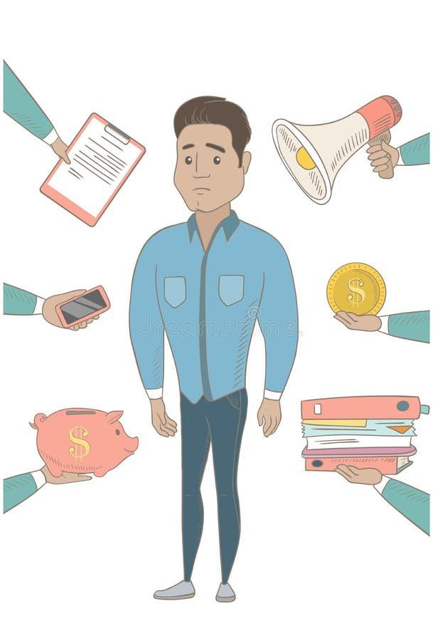 Homem de negócios latino-americano que tem lotes do trabalho a fazer ilustração royalty free