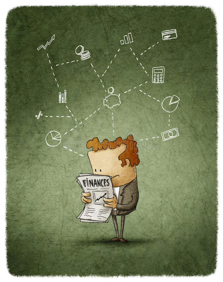 Homem de negócios lido ilustração do vetor