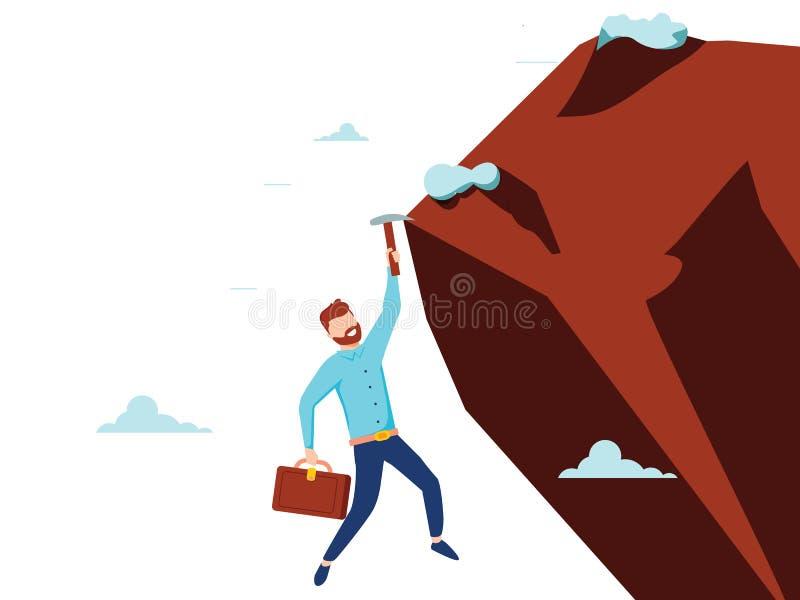 Homem de negócios liso do estilo do vetor para escalar o penhasco da montanha para alcançar seu objetivo Conceito da liderança Pr ilustração do vetor