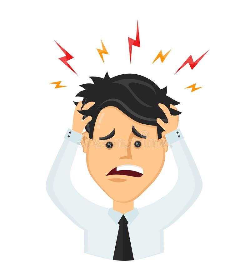 Homem de negócios liso do homem do vetor com uma dor de cabeça ilustração royalty free