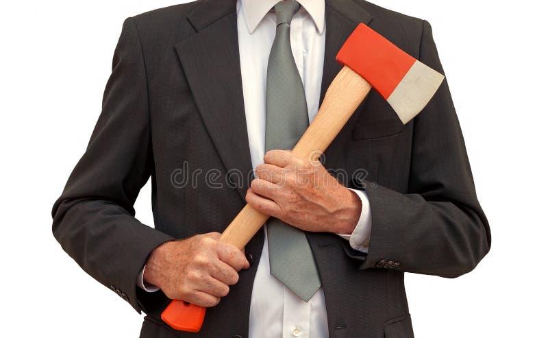 Homem de negócios louco do machado - isolado foto de stock royalty free
