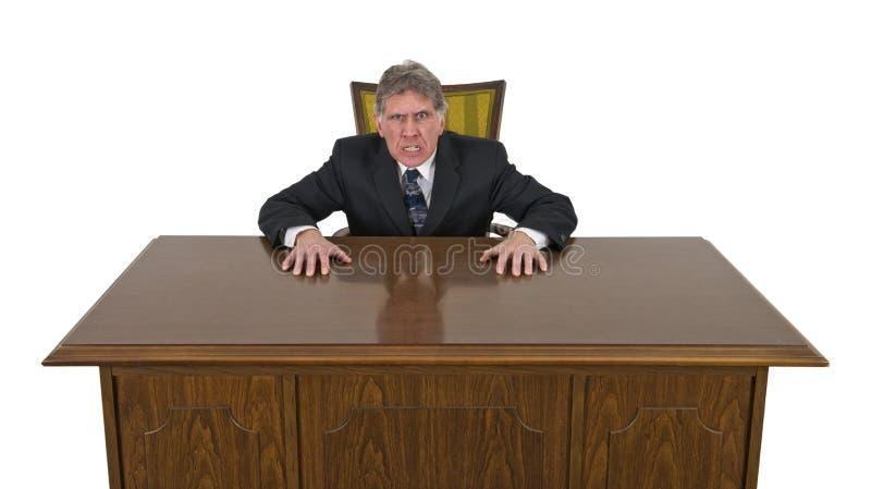 Homem de negócios louco irritado médio engraçado isolado fotografia de stock