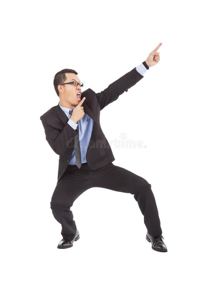 Homem de negócios louco que dança um gesto engraçado imagens de stock royalty free