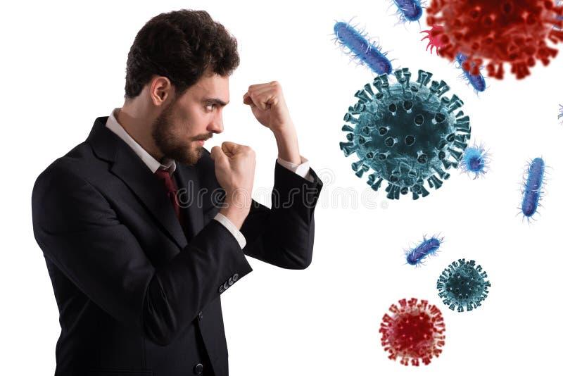 Homem de negócios luta como um boxeador Conceito de ataque de vírus e bactérias imagem de stock royalty free