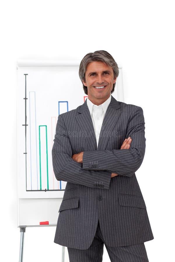Homem de negócios maduro carismático com braços dobrados fotografia de stock