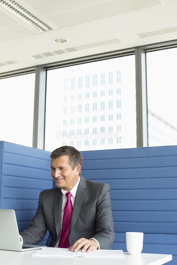 Homem de negócios maduro de sorriso que usa o portátil na mesa imagem de stock