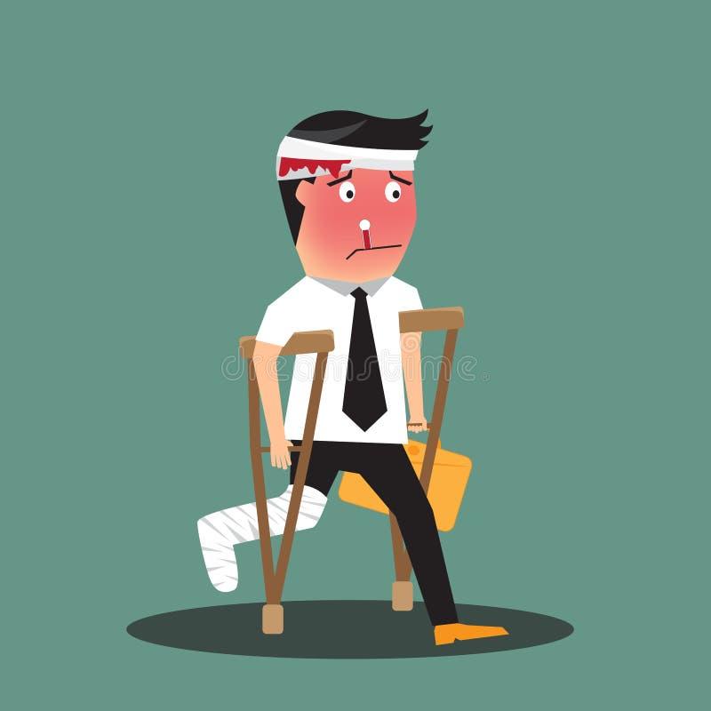 Homem de negócios mal ferido que anda em muletas ilustração royalty free