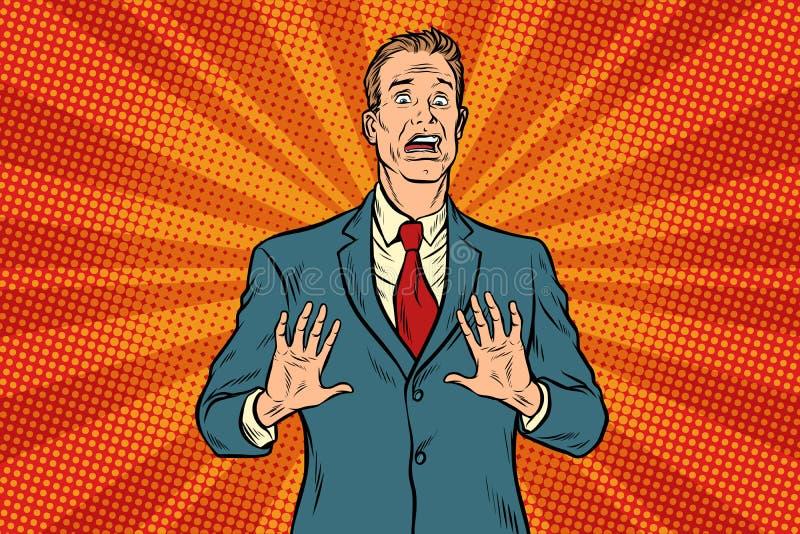 Homem de negócios masculino assustado ilustração royalty free