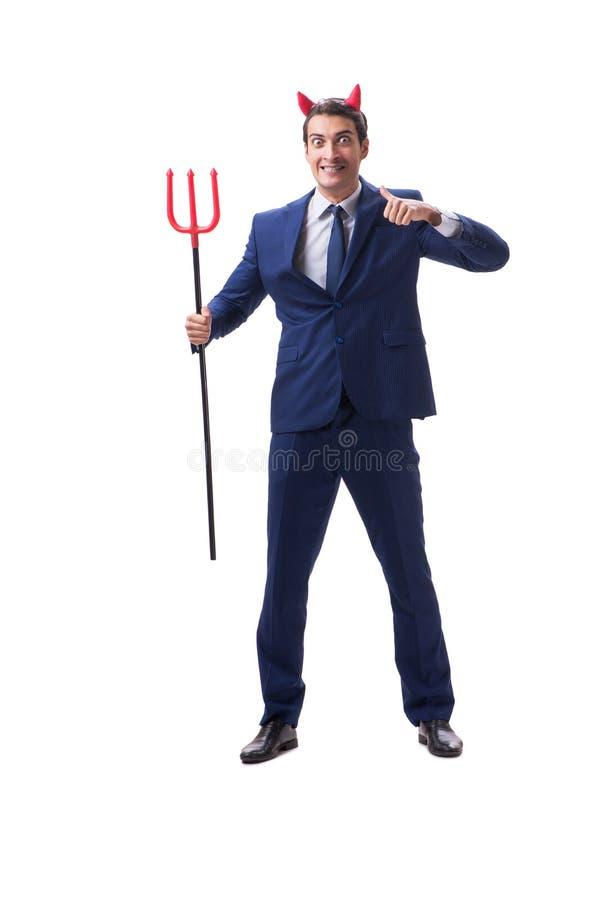 Homem de negócios mau do diabo com o forcado isolado no backgrou branco imagem de stock