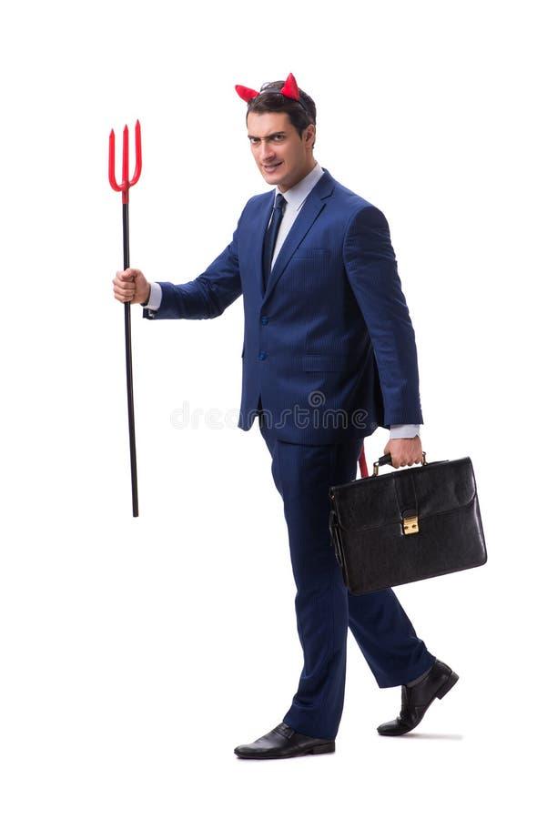 Homem de negócios mau do diabo com o forcado isolado no backgrou branco imagem de stock royalty free
