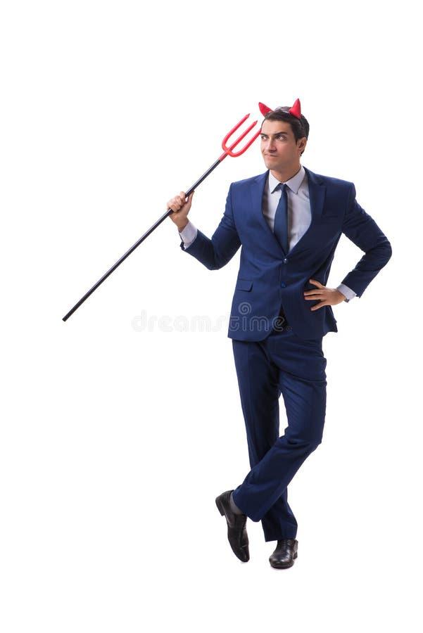 Homem de negócios mau do diabo com o forcado isolado no backgrou branco fotos de stock
