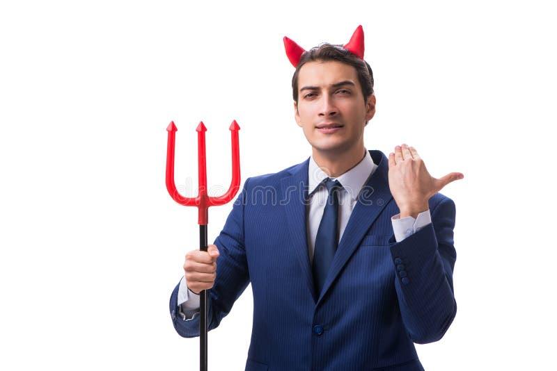 Homem de negócios mau do diabo com o forcado isolado no backgrou branco fotos de stock royalty free