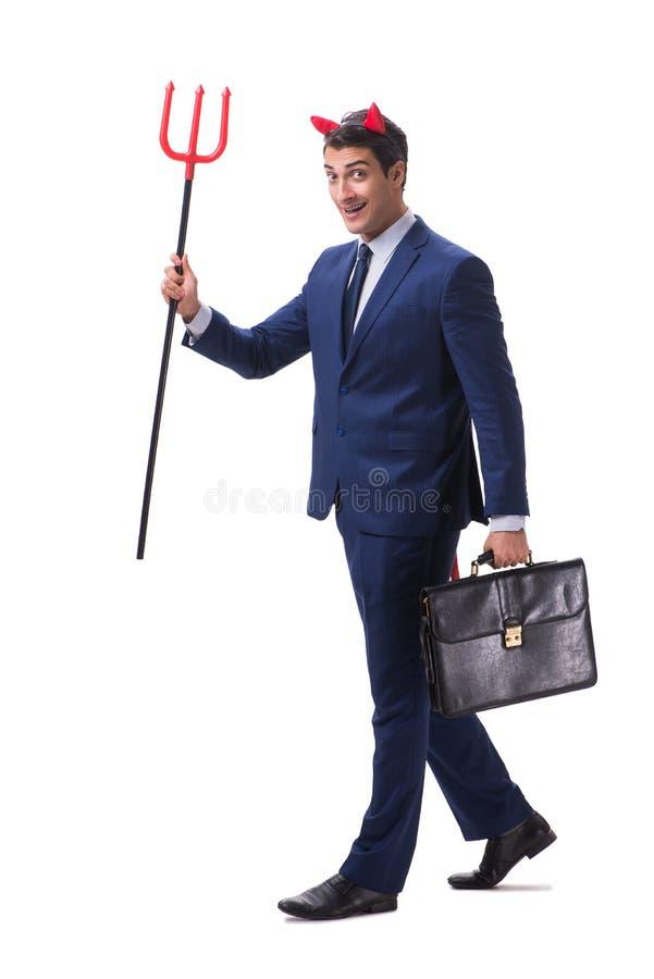 Homem de negócios mau do diabo com o forcado isolado no backgrou branco imagens de stock royalty free