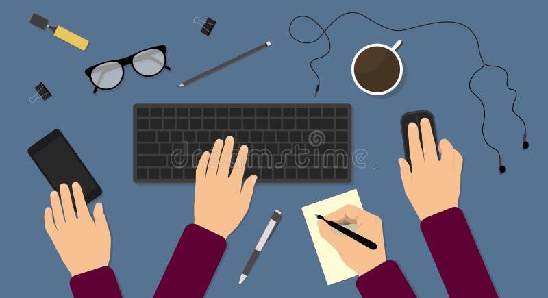 Homem de negócios muito ocupado que trabalha em sua mesa ilustração stock