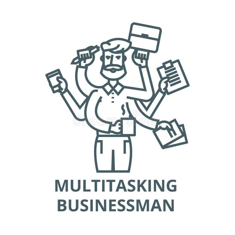 Homem de negócios a multitarefas com caso, linha ícone do vetor, conceito linear, sinal do esboço, símbolo ilustração royalty free
