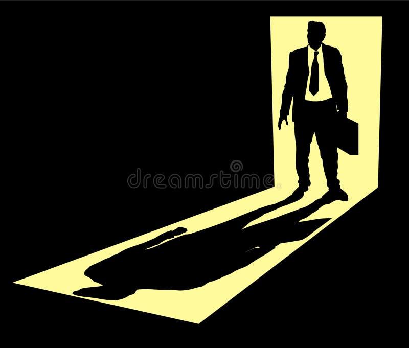 Homem de negócios na entrada ilustração stock