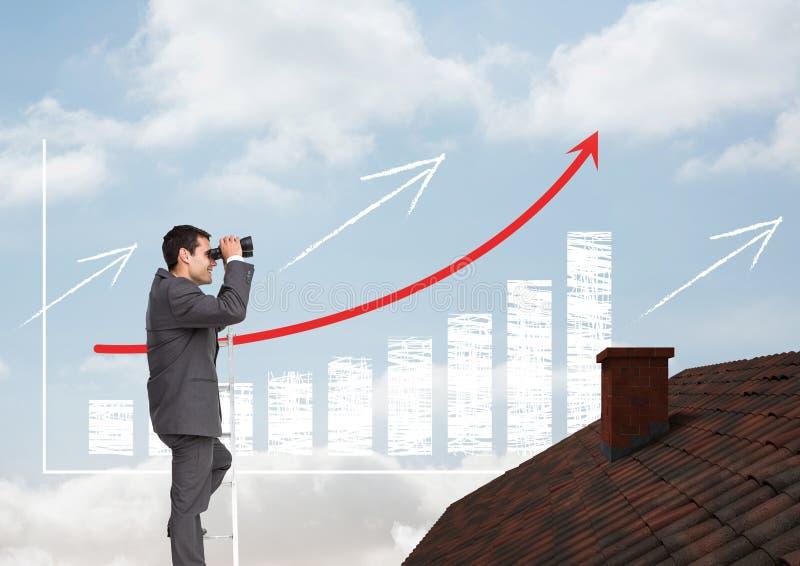 Homem de negócios na escada com os binóculos sobre o telhado e a carta de barra incrementada imagens de stock