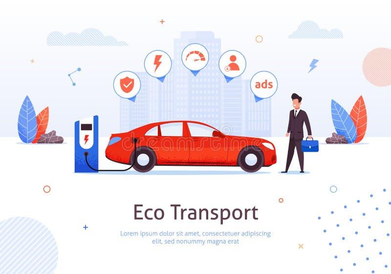 Homem de negócios na estação de carregamento do carro elétrico de Eco ilustração do vetor