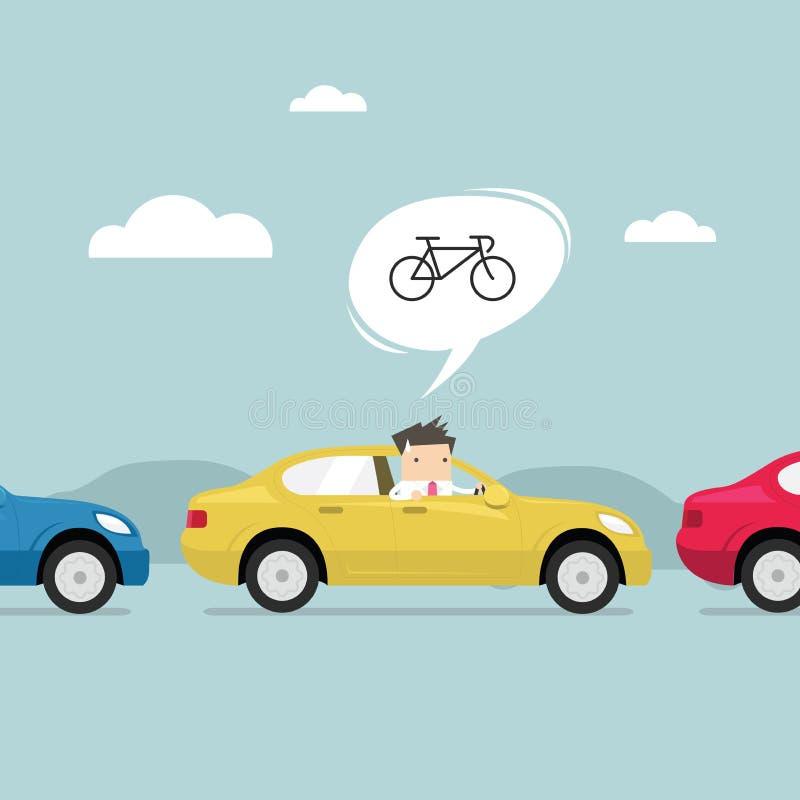 Homem de negócios na estrada com engarrafamento, pensamento a trabalhar melhor pela bicicleta Vetor ilustração do vetor