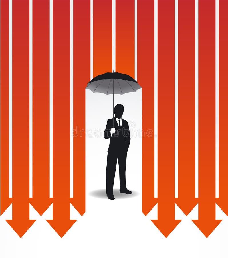 Homem de negócios na ideia criativa do cofre forte da finança do guarda-chuva ilustração do vetor
