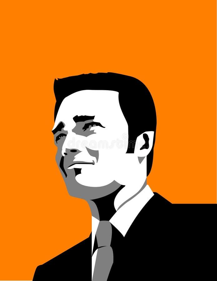 Homem de negócios na laranja ilustração do vetor