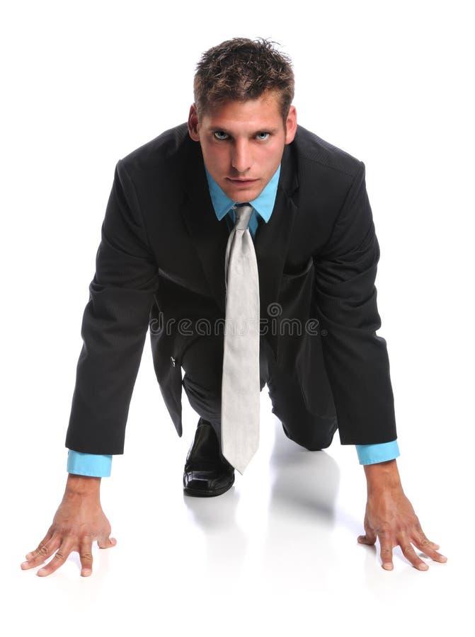 Homem de negócios na linha começar imagem de stock