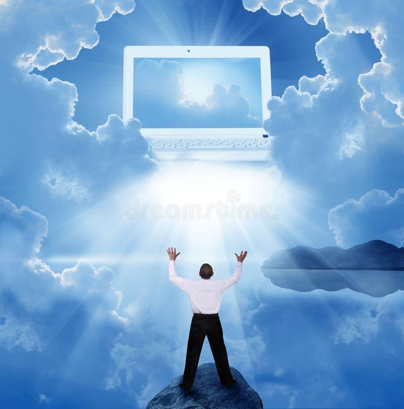 Homem de negócios na oração imagem de stock royalty free