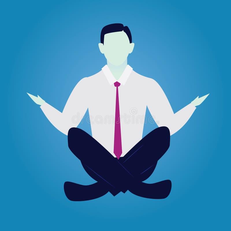 Homem de negócios na posição da ioga A calma relaxa no negócio ilustração stock