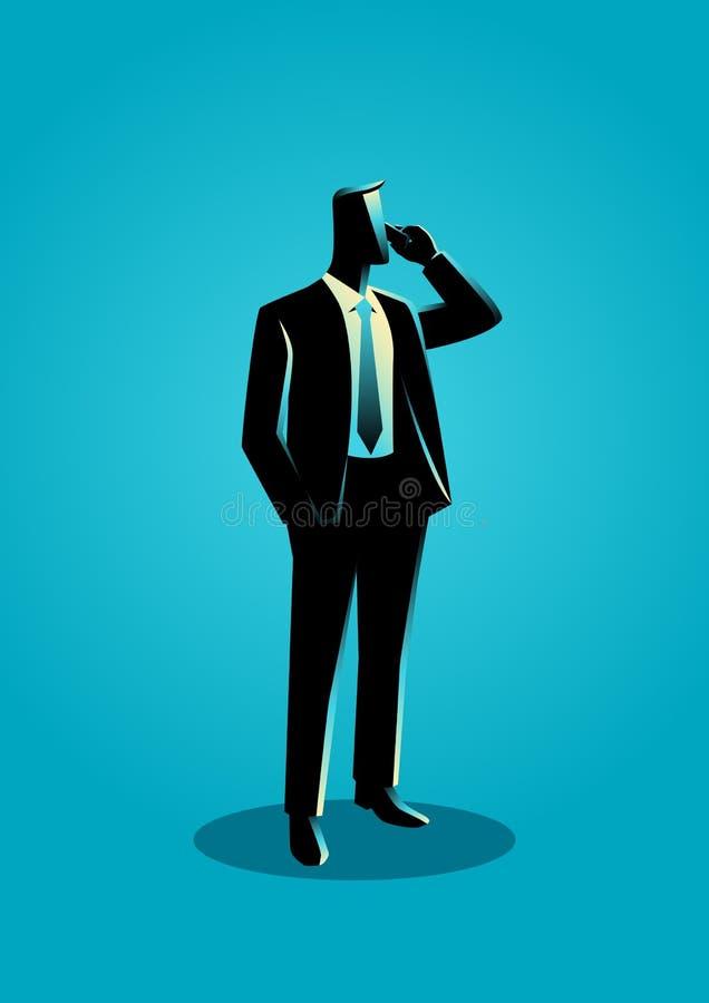 Homem de negócios na posição formal do terno quando no telefone ilustração do vetor