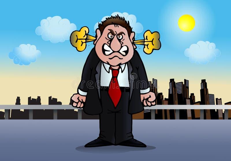 Homem de negócios na raiva ilustração do vetor
