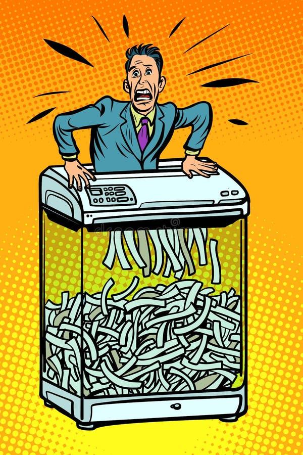 Homem de negócios na retalhadora de papel, dispositivo de escritório informat secreto ilustração do vetor