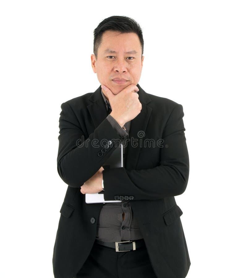 Homem de negócios na série que pensa com confiança isoated no fundo branco fotografia de stock