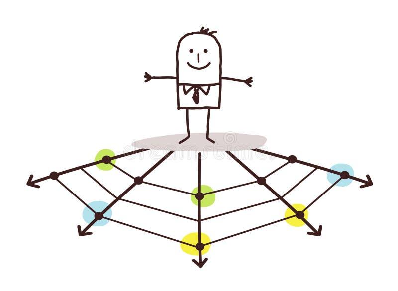 Homem de negócios na Web ilustração stock