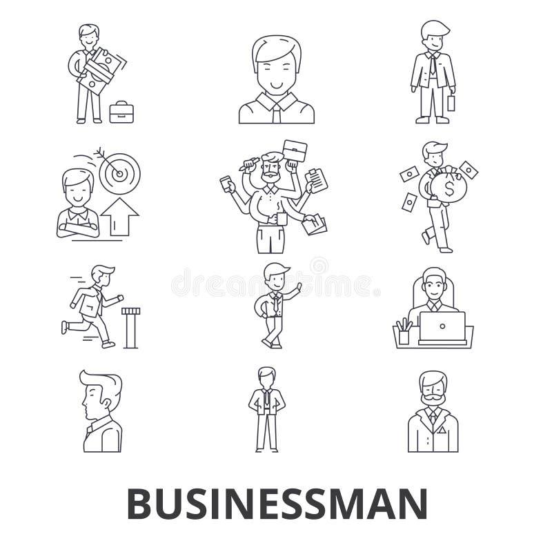 Homem de negócios, negócio, reunião de negócios, finança, conceito, incorporado, linha ícones do sucesso Cursos editáveis Projeto ilustração royalty free