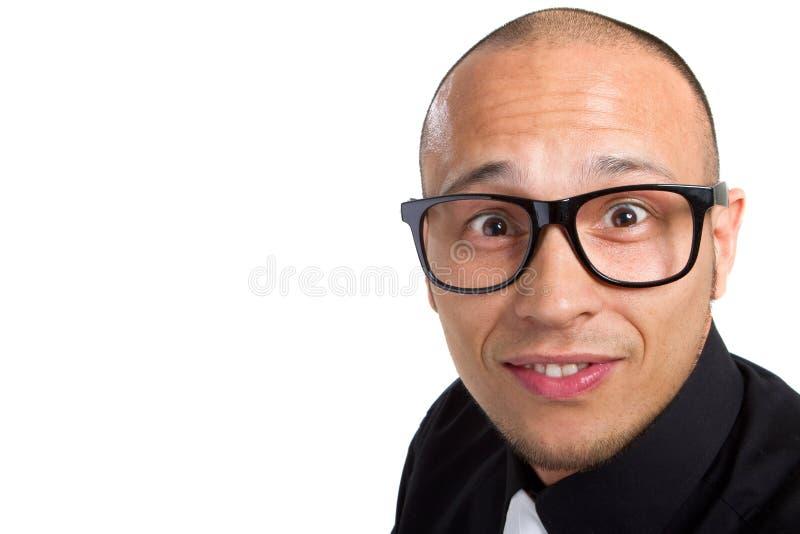 Homem de negócios nerdy novo fotos de stock