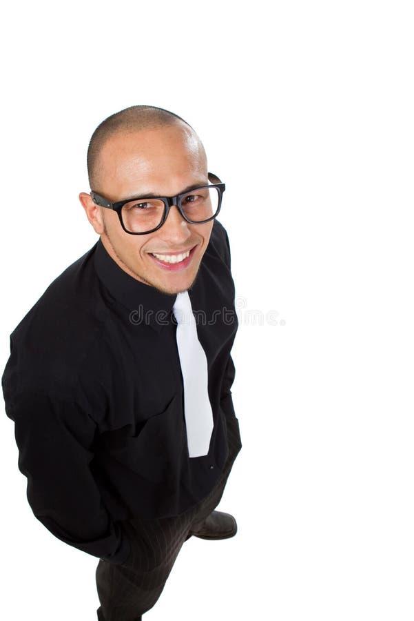 Homem de negócios nerdy novo imagem de stock royalty free