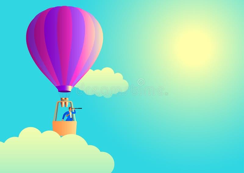 Homem de negócios no balão de ar usando o telescópio ilustração do vetor
