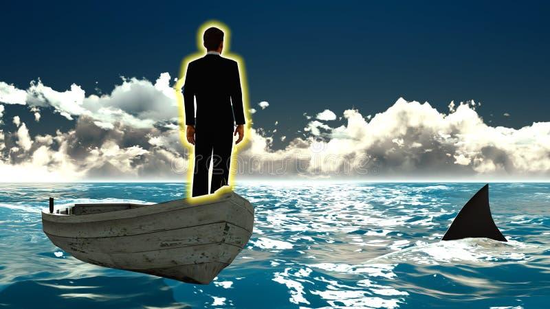 Homem de negócios no barco & no tubarão fotos de stock
