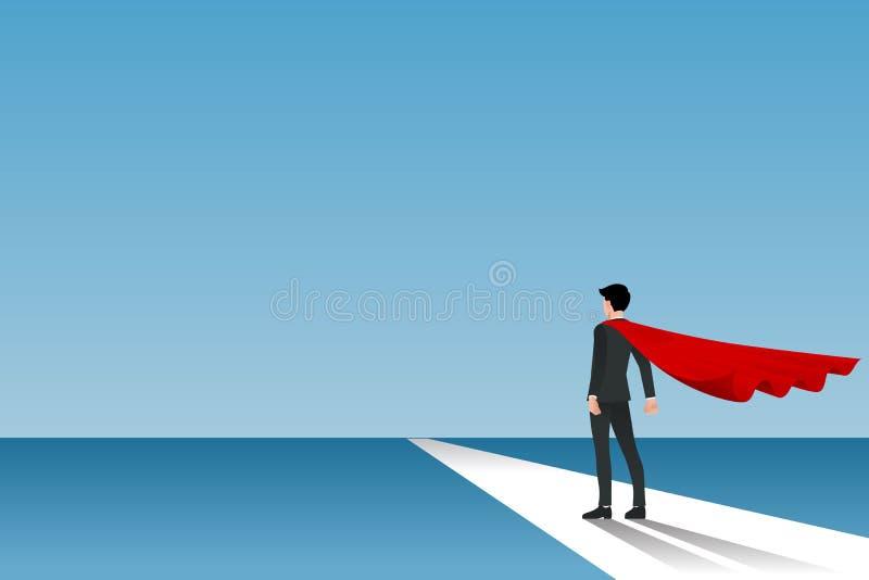 Homem de negócios no cabo vermelho que está na maneira da rua ao sucesso de sua carreira ilustração royalty free