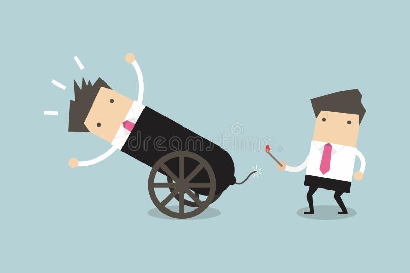 Homem de negócios no canhão, atalhos ao sucesso, conceito da equipe do negócio ilustração royalty free